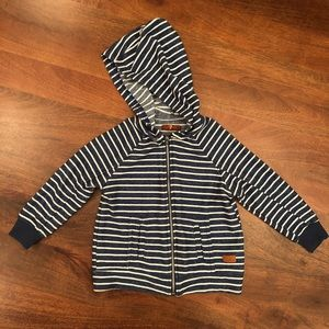 7 for All Mankind navy and white stripe zip up